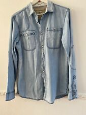 Rare River Island Mens Blue Faded Denim Shirt Size M Medium With Elbow Patches