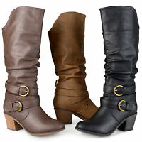 Journee Collection Womens Buckle Slouch High Heel Boots New