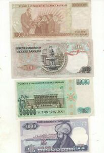 Turkey 4 banknotes