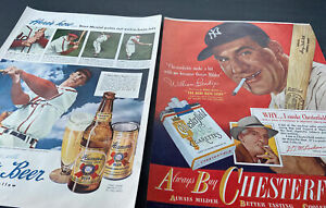 EXCEPTIONAL 1948-49 BASEBALL BEER~TOBACCO ADVERTISING~STAN MUSIAL & BENDIX/RUTH