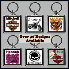 Personalised Harley Davidson Key Ring + Name - 4cm Square Keyring, Chain - Gift