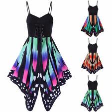 Women Butterfly Print Sling Dress Maxi Sexy Beach Bandage Cotton Mini Sundress