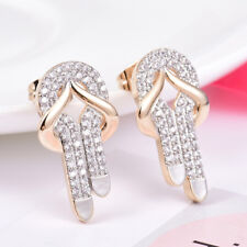 Lady Girls Sparkly Swarovski Crystal Lovely Shoes Shaped Gold Stud Earrings Gift
