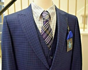 *GORGEOUS* Steve Harvey 3 Piece Blue Plaid Suit 44 R Regular 38 W waist *New!