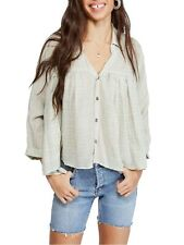FREE PEOPLE $108 Womens New 0033 White Plaid V Neck Trapeze Casual Top XS B+B