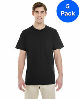 Gildan Mens Heavy Cotton T-Shirt with a Pocket 5 Pack G530 All Sizes