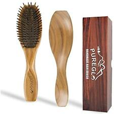 Natural Hair Brush - PureGLO Wooden Bristle Detangling Hairbrush Straight Curly