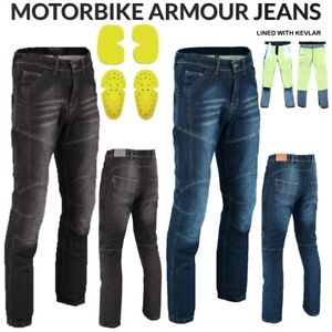 Mens CE Armoured Motorcycle Jeans Motorbike Pant Denim Trousers Made with Kevlar