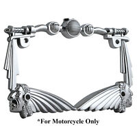3D HANDLE BAR INDIAN CHIEF CHROME MOTORCYCLE LICENSE PLATE FRAME FOR UNIVERSAL