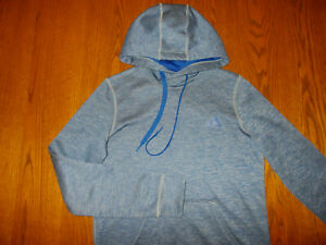 ADIDAS CLIMAWARM HEATHER BLUE HOODED SWEATSHIRT WOMENS XS EXCELLENT CONDITION