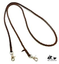 Braided Leather Roping Reins 4 Plait Dark Oil Mexico Made New Free Ship