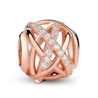 Gold Color Galaxy, Rose & Clear CZ Bead 925 Sterling Silver Charm pandora