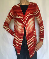 Chico's Long Sleeve Open Front Drape Cardigan Red & Cream, Size 1 / Medium / 8