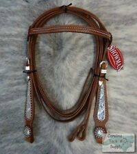 Showman Engraved Silver Inlay Leather Show Bridle & Reins Set! NEW HORSE TACK!!