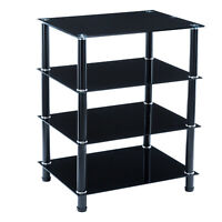 Black TV Mount Stand Shelves Storage Console Table Glass Media Audio Video