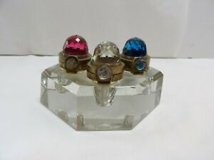 Antique Jeweled Brass & Glass Inkwell  Wells  (3)