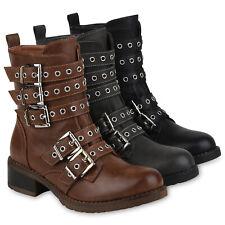 Damen Stiefeletten Biker Boots Gefütterte Stiefel Ösen 823683 Schuhe