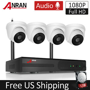 ANRAN Audio Wireless 2.0MP WIFI Security Camera System CCTV 8CH NVR Home Set 1TB