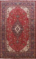 Vintage Geometric Tebriz Hand-Knotted Area Rug Traditional Oriental Carpet 7x10