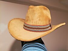 GW Cowboy Country Western Velvet Hat with removable Headband feather Beige 7 1/4