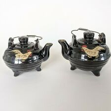 Vintage 1950's Pair SALT & PEPPER SHAKERS Porcelain Teapots with Chickens