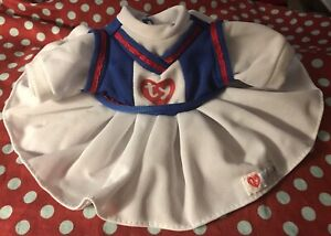 TY Beanie Baby Bear dress. white red blue cheerleader dress outfit