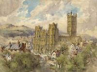 Conrad H.R. Carelli, Wells Cathedral – Original 1954 watercolour painting