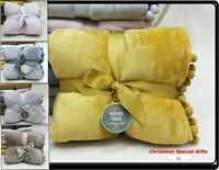 New Super Soft Large Double Throw Blanket for Bed Sofa Winter POM POM 5 Colours