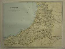 1875 ANTIQUE WALES WELSH COUNTY MAP ~ CARDIGAN SWYDD ABERTEIFI ABERYSTWITH