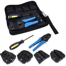 Insulated Cable Connectors Terminal Ratchet Crimping Wire Plier Tool Kit w/ Dies