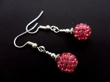 A PAIR OF DANGLY PINK SHAMBALLA STYLE  DANGLY  EARRINGS. NEW.