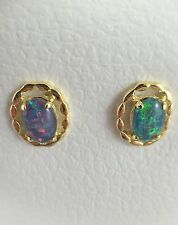 Genuine Australian Coober Pedy Triplet Opal Stud Earrings Twice 18ct Gold Plated