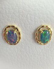 Genuine Australian Coober Pedy Triplet Opal Stud Earrings Twice 18ct Gold Plated