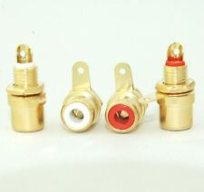 4 Female Amplifier RCA Jack Chassis Mount 24K Audio Adapter Top Grade E1611 USA