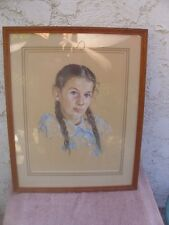 Original Pastel Young Brunette Girl Portrait w Braids AGH Framed French Mat