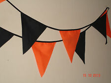 ORANGE AND BLACK 16ft FABRIC BUNTING WITH 16 FLAGS