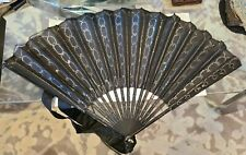 victorian black silk sequinn fan 12""