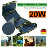 Faltbar 20W Solar Solarmodul Solarpanel Ladegerät USB Handy Camping Ladegerät DE