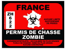 France Zombie Hunting Permit (Bumper Sticker)