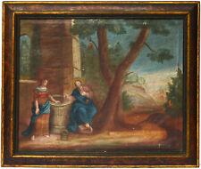 Ölgemälde Öl Leinwand 18. Jh. Jesus am Brunnen Original Rahmen 62 x 53 cm