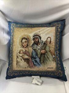 Jesus Mary Joseph Tapestry Throw Pillow Blue Tan Home Decor Riverdale Plush