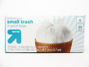 Up & Up Small Unscented Flap-Tie Trash Bags, White, 4 Gallon - 30ct