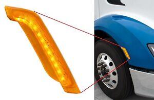 Passenger Side Amber LED Fender Turn Signal Light for Peterbilt 579 / 587