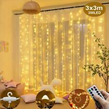 USB Curtain Fairy String Lights 300 LED Warm White Waterproof w/ Remote Control