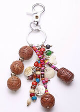BOLD BROWN & MANIC MULTICOLOUR DROP WOODEN BEADS & TOKENS METAL KEYRING (ZX40)