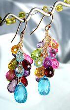 14k Gold Multi Gemstone Briolette Chandelier Earrings