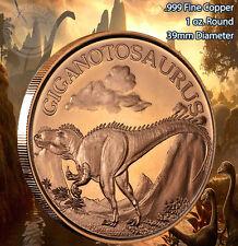 Giganotosaurus Dinosaur Round 1 oz .999 Copper Round Part of 8 Series