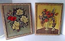Averill Vintage Print Floral Colonial Roses Gold Gilt Frames Art Deco Signed 2
