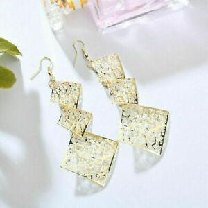 Yellow Gold Plated Women Hollow Geometry Long Hook Dangle Stud Earrings Jewelry
