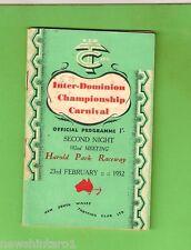#D225. HAROLD PARK RACEWAY TROTTING  PROGRAM 23rd February 1952